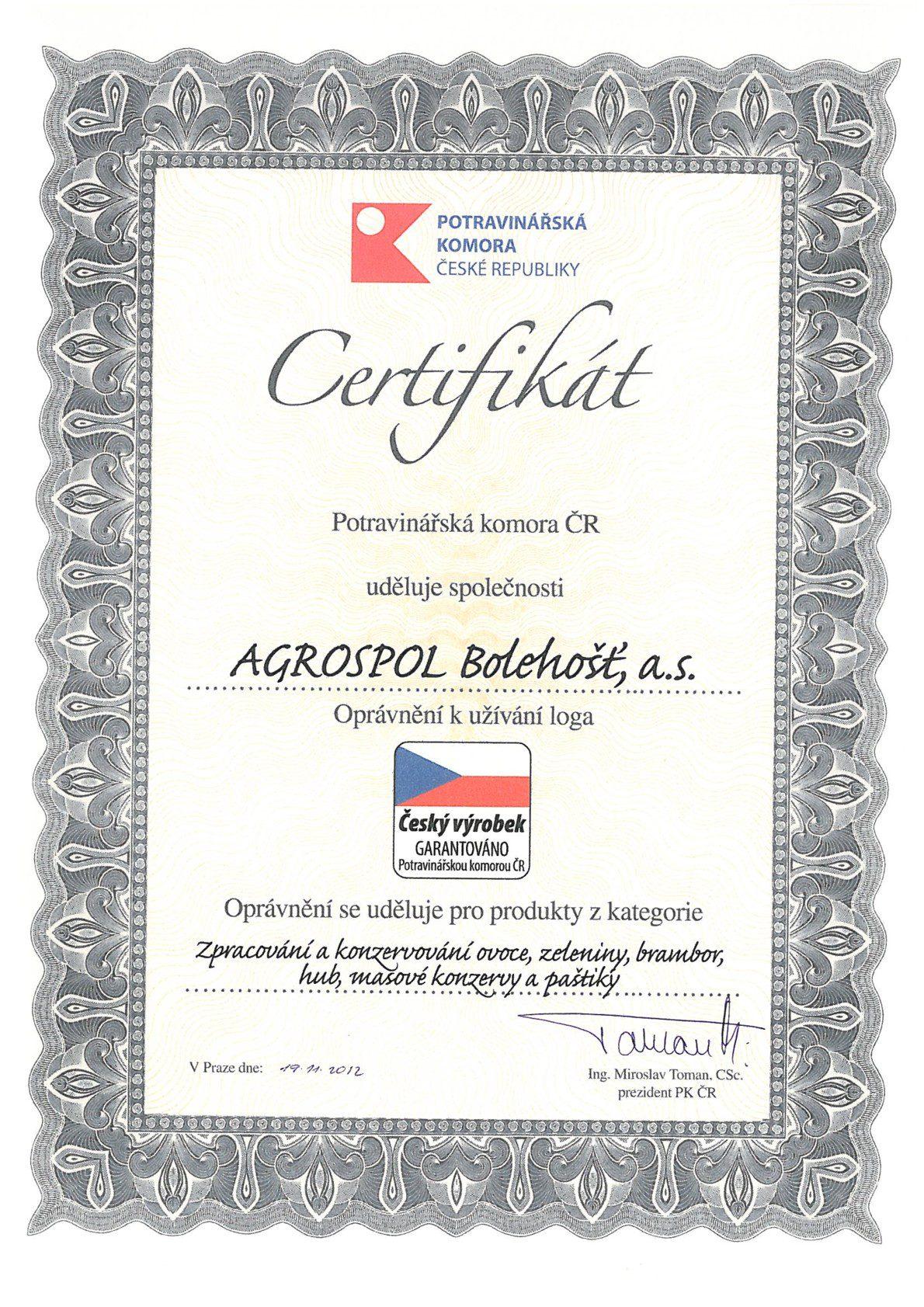 AGROSPOL Bolehošť, a. s. - Certifikát 03