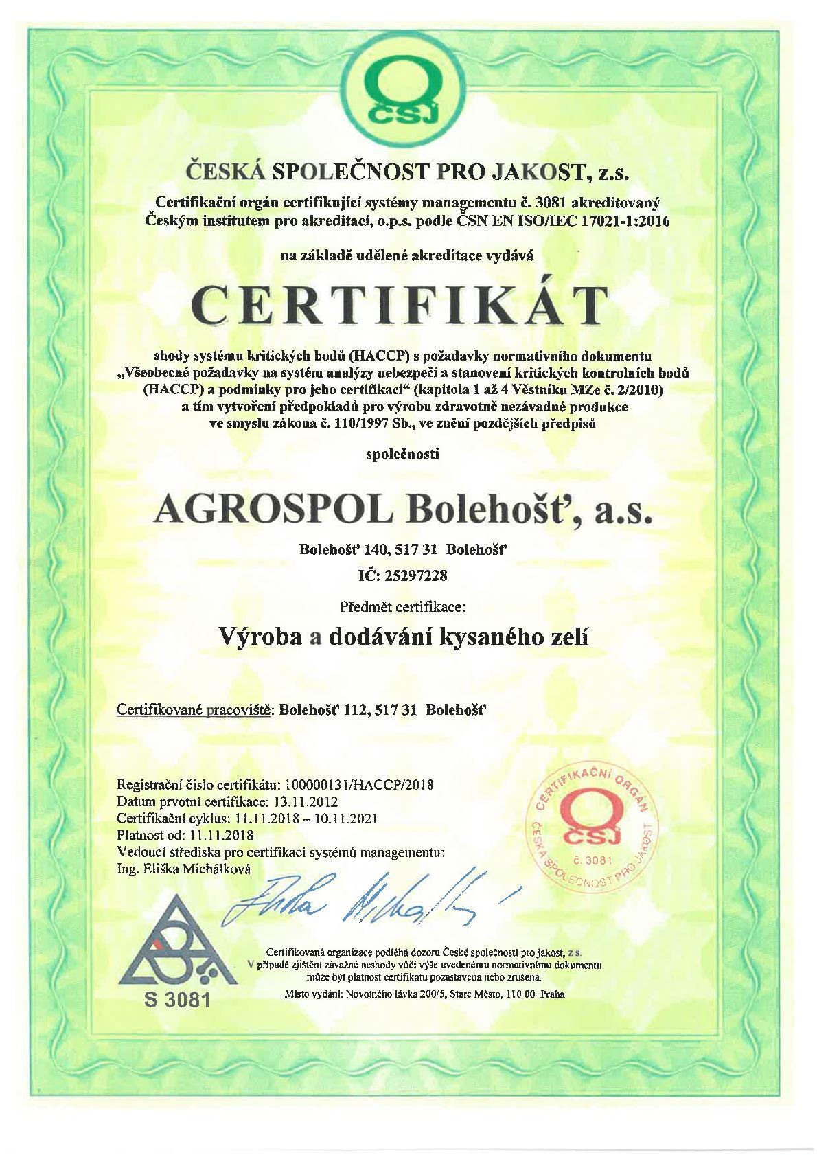 AGROSPOL Bolehošť, a. s. - Certifikát 02