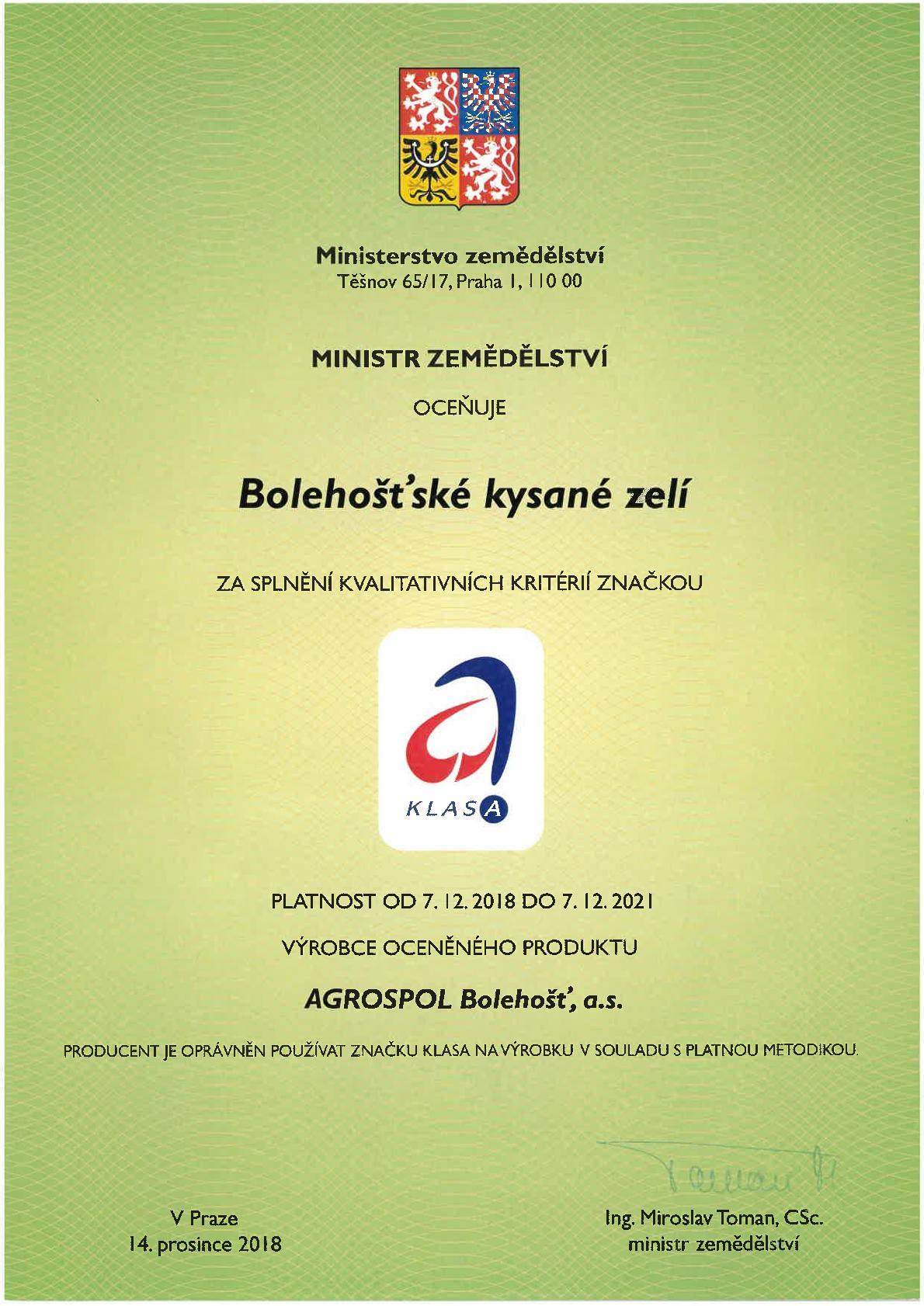 AGROSPOL Bolehošť, a. s. - Certifikát 01